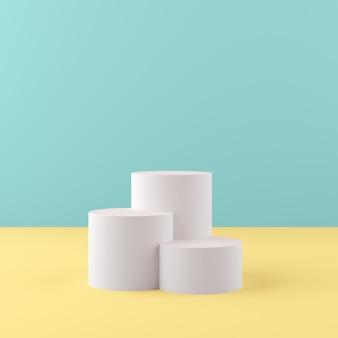 Le forme della geometria della rappresentazione 3d deridono sul concetto minimo di scena, il podio bianco con fondo verde e giallo per il prodotto o il profumo