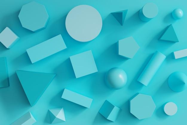 Le forme geometriche monotone blu hanno messo su fondo blu. concetto di posa piatto minimo