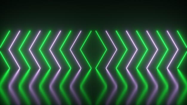 Le frecce al neon luminose lampeggianti si accendono ed escono indicando la direzione sul pavimento riflettente. sfondo astratto, laser show. spettro di luce verde al neon ultravioletto. illustrazione 3d