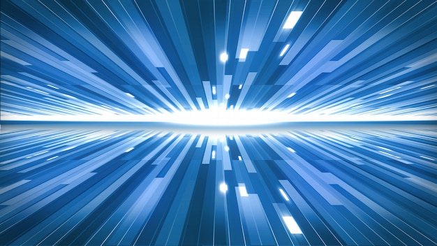 Le linee blu sullo sfondo del concetto di tecnologia.