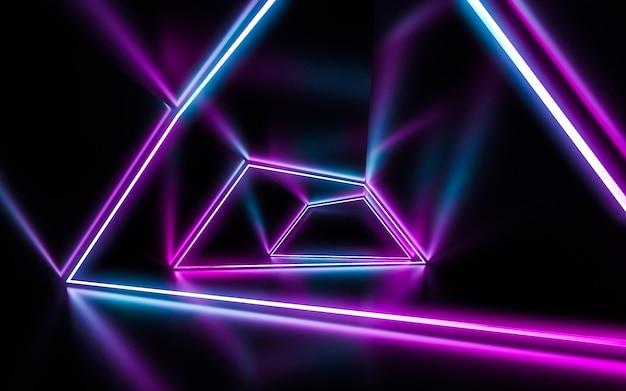 Le luci futuristiche blu e porpora del tubo al neon di sci fi che emettono luce con lo spazio vuoto di riflessioni.