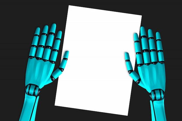 Le mani del robot e un foglio bianco di carta che giace sul tavolo