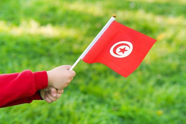 Le mani della bambina tengono la bandiera della tunisia
