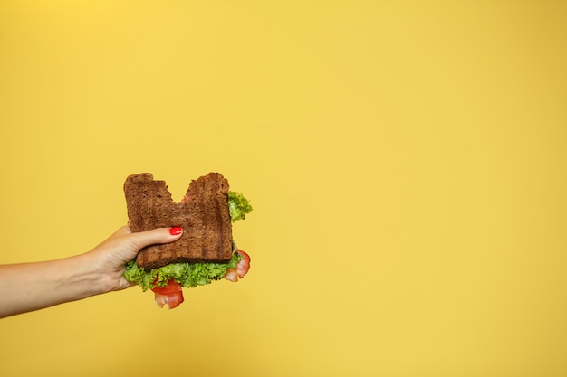 Le mani della donna tengono il panino morso su fondo giallo. concetto di promozione sandwich