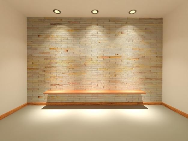 Le pareti in arenaria con rendering 3d sono decorate con luci che brillano a bordo