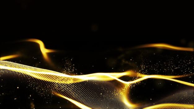 Le particelle dell'onda di colore dell'oro astratto di digital fluiscono il fondo