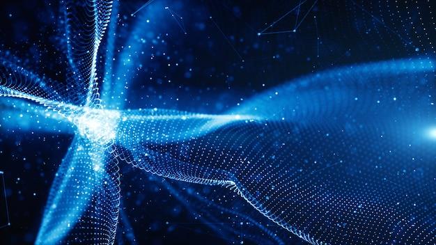Le particelle di digital ondeggiano il flusso e torcono il concetto astratto del fondo della tecnologia del moto