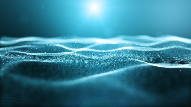 Le particelle digitali di colore blu astratto ondeggiano con bokeh e fondo leggero