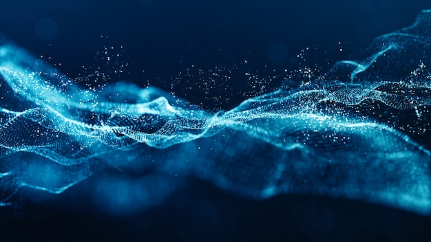 Le particelle digitali di colore blu astratto ondeggiano con bokeh e luce
