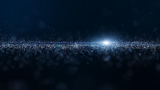 Le particelle digitali di colore blu astratto ondeggiano con polvere e fondo leggero