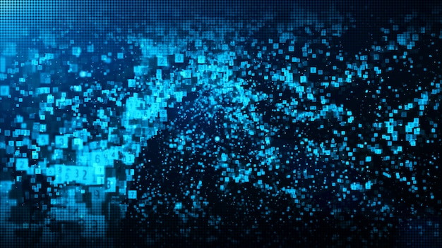 Le particelle digitali di colore blu astratto ondeggiano con polvere e numera il fondo