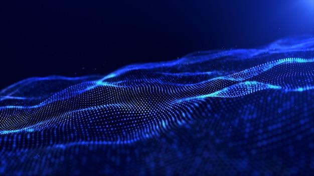 Le particelle digitali di colore blu astratto ondeggiano il fondo