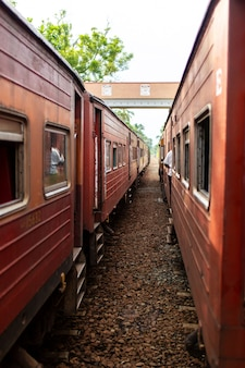 Le persone comunicano dalle finestre di vari treni fermati alla stazione