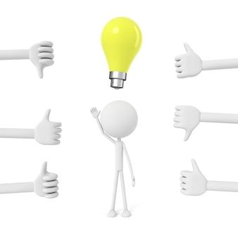 Le persone modellano e hanno il concetto di idee. rendering 3d.