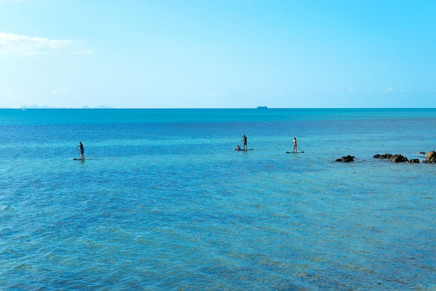 Le persone sulle tavole da sup nuotano attraverso l'oceano vicino alla spiaggia
