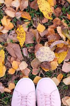 Le scarpe da tennis rosa delle donne sulle foglie gialle in autunno.