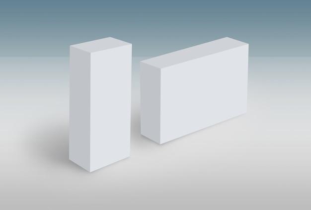 Le scatole bianche 3d su terra deridono sul modello pronto per il vostro disegno