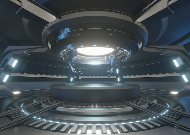 Le stanze del futuro con il podio e ha un braccio meccanico per il manico della ricerca.