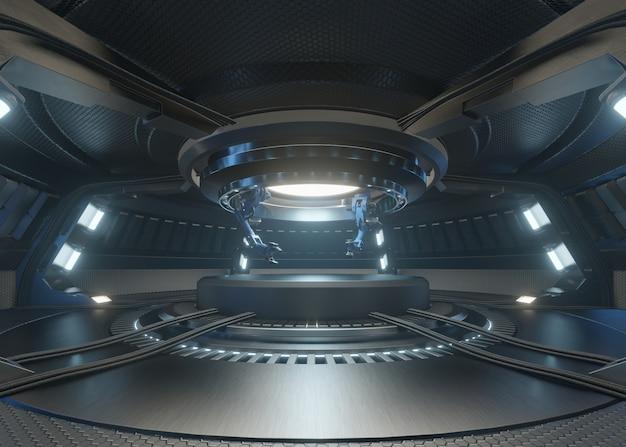 Le stanze del futuro con il podio e ha un braccio meccanico