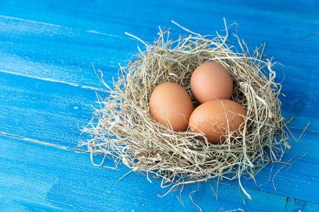 Le uova marroni fresche del pollo in fieno annidano sul blu
