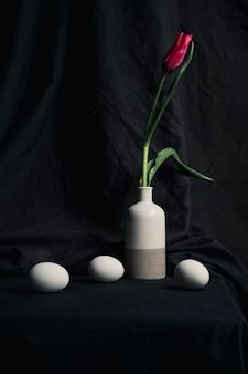 Le uova si avvicinano al fiore rosso fresco in vaso