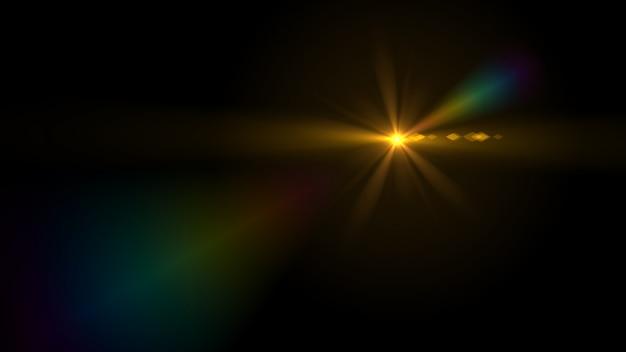 Lens flare light over black background.