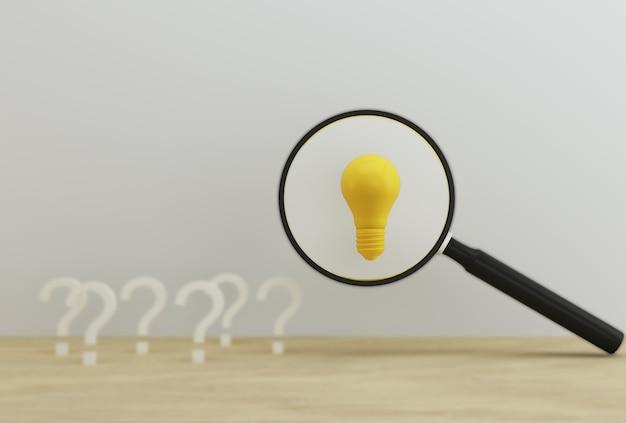 Lente d'ingrandimento con lampadina che rivela un'idea con il simbolo della domanda