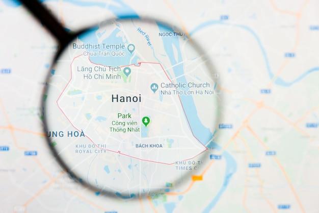 Lente d'ingrandimento sulla mappa del vietnam