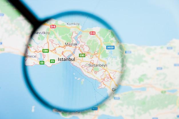 Lente d'ingrandimento sulla mappa della turchia