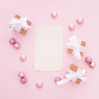 Lettera di natale realizzata con tonalità rosa