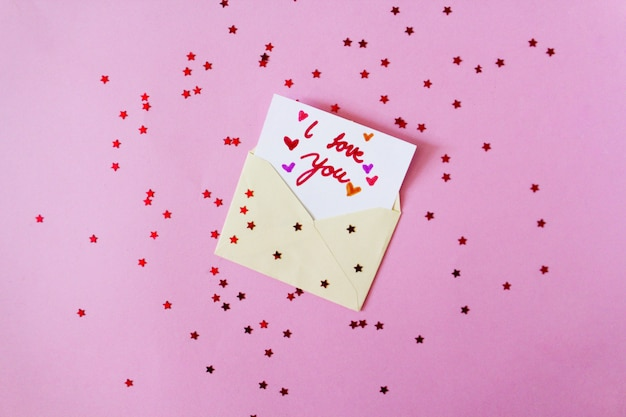 Lettera di san valentino con stelle rosse