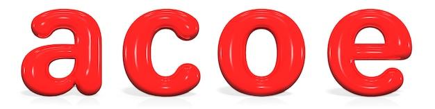 Lettera di vernice rossa lucida a, c, o, e minuscola di bolla