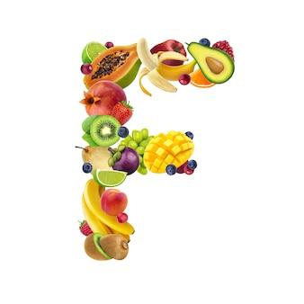 Lettera f fatta di diversi tipi di frutta e bacche