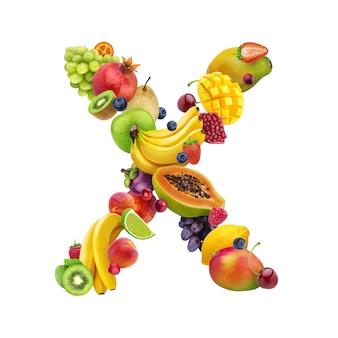 Lettera - x composta da diversi tipi di frutta e bacche