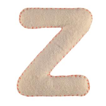 Lettera z di feltro isolato su bianco