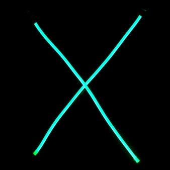 Lettere dell'alfabeto di luci al neon verde
