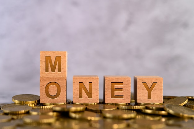 Lettere di legno del cubo di alfabeto di parola dei soldi disposte su una moneta di oro