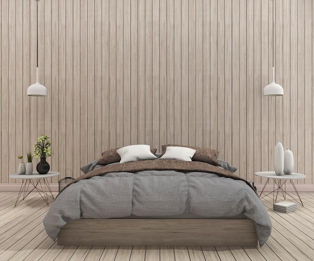 Letto d'annata della rappresentazione 3d in camera da letto pulita