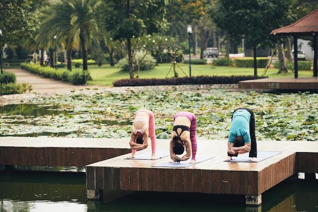 Lezione di stretching all'aperto