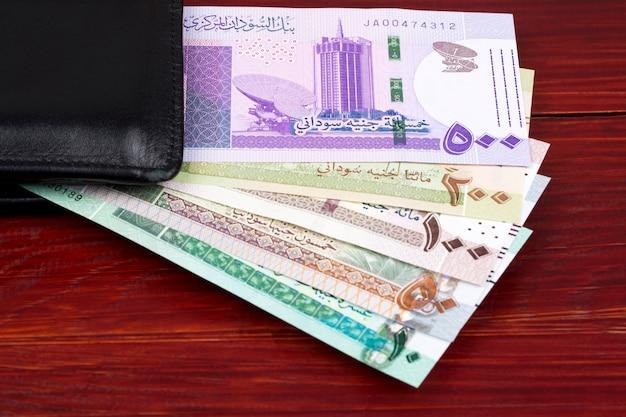 Libbre sudanesi in un portafoglio nero