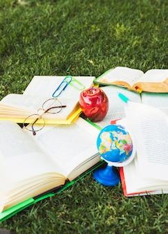 Libri di testo con roba di studio che giace nel caos sull'erba verde