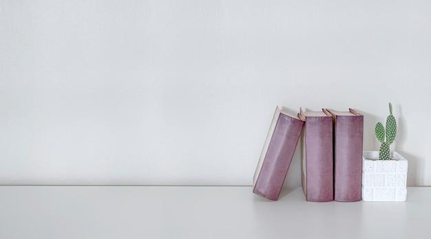 Libri e pianta da appartamento del modello sul tavolo superiore di legno bianco con la parete bianca, spazio della copia per l'esposizione del prodotto.