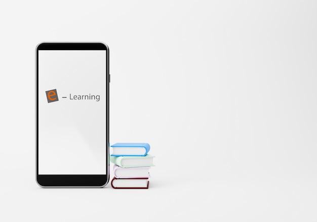 Libri e smart phone di colore, rappresentazione online di concetto 3d della scuola