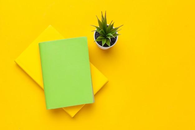 Libri su un tavolo giallo