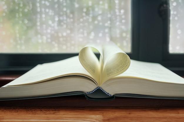 Libro aperto con pagine a forma di cuore