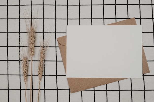 Libro bianco vuoto su busta di carta marrone con fiore secco d'orzo e scatola di cartone su panno bianco con motivo a griglia nera