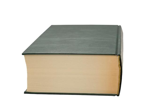 Libro con copertina rigida verde su uno spazio bianco