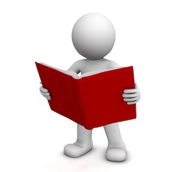 Libro di lettura di personaggi 3d