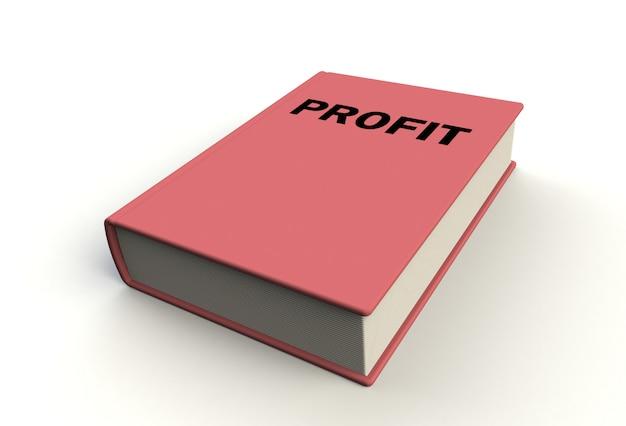 Libro di profitto su fondo bianco, rappresentazione 3d