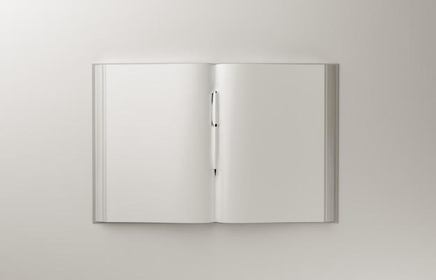 Libro fotorealistico in bianco a4 su fondo grigio chiaro, illustrazione 3d.